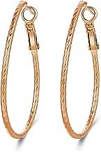 Uokela 14K Gold Oval Hoop Earrings, Fashion Large Round Huggie Hoops Earring Jewelry for Women