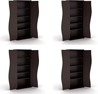 Atlantic Venus Media Storage Cabinet - Stylish Multimedia Storage Cabinet Holds 198 CDs, 88 DVDs or 108 Blu-Rays, 4 Adjustable and 2 Fixed Shelves PN83035729 in Espresso (Pack of 4)