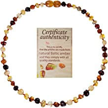 Mommy's Touch 100% Natural Amber Teething Necklace (Multi-Color) - Anti-Inflammatory & Teething Pain Reducing Properties Unisex Necklace With Twist-in Screw Clasp