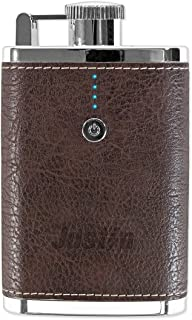 Justin Power 3,200 mAh Flask Power Bank with Brown Leatherette Exterior