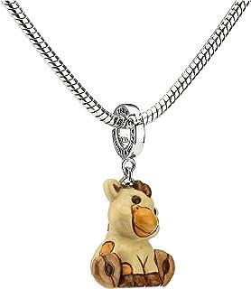 THUN ® - Charm Special Icon Giraffa - Linea Savana Story - Bronzo rodiato - Ceramica - Lunghezza con Gancio 3,5 cm