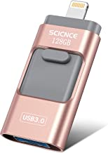 iOS Flash Drive 128GB iPhone iPad Memory Stick, SCICNCE Thumb Drive USB 3.0 External Storage Memory Expansion Compatible with iPhone iPad Android and Computers (Pink)