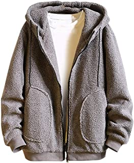 wuliLINL Mens Faux Fur Jackets with Hood,Winter Thicked Warm Casual Cardigan Trench Coat Loose Outwear Overcoat