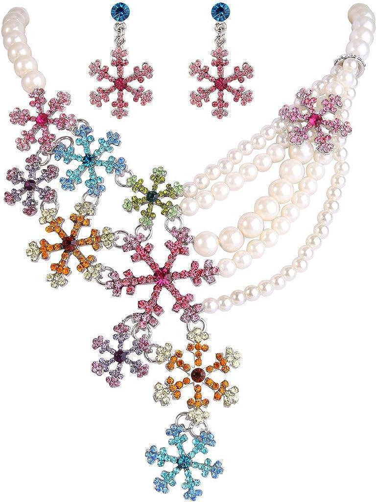 EVER FAITH Snowflake Simulated Pearl Austrian Crystal Necklace Earrings Set