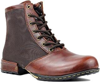 OSSTONE Bottes de Moto pour hommes Mode Zipper-up Bottes Chukka en cuir Chaussures décontractées OS-5008-2-redbrown