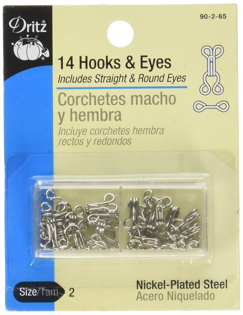Dritz 90-2-65 Hook & Eye Closures, Nickel, Size 2 14-Count