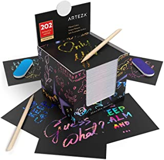 """Arteza Scratch Paper Notes, Set of 202, 3.5""""x3.5"""" Rainbow, Holographic: Silver, Gold, Pink, Blue & Space Patterned Notes, ..."""