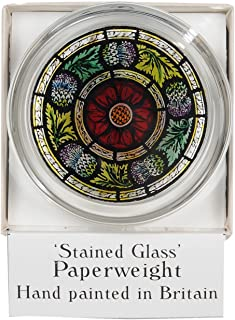 Decorative Hand Painted Stained Glass Paperweight in a Scottish Rose and Thistle Design