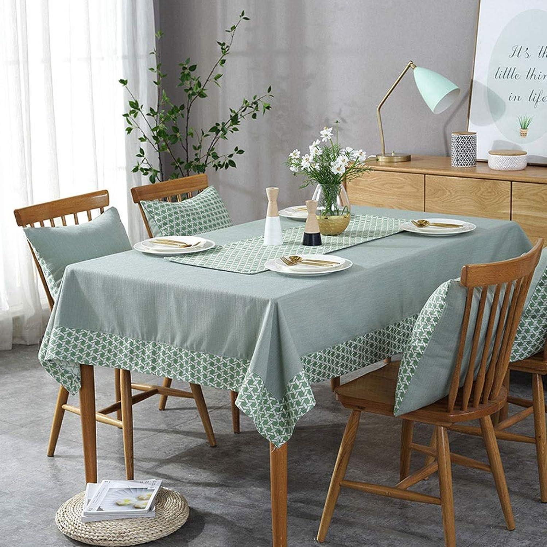 Nappe rectangulaire Nappe en coton, lavable, anti-rides, petite table de cuisine (Couleur   vert, Taille   180x180cm)