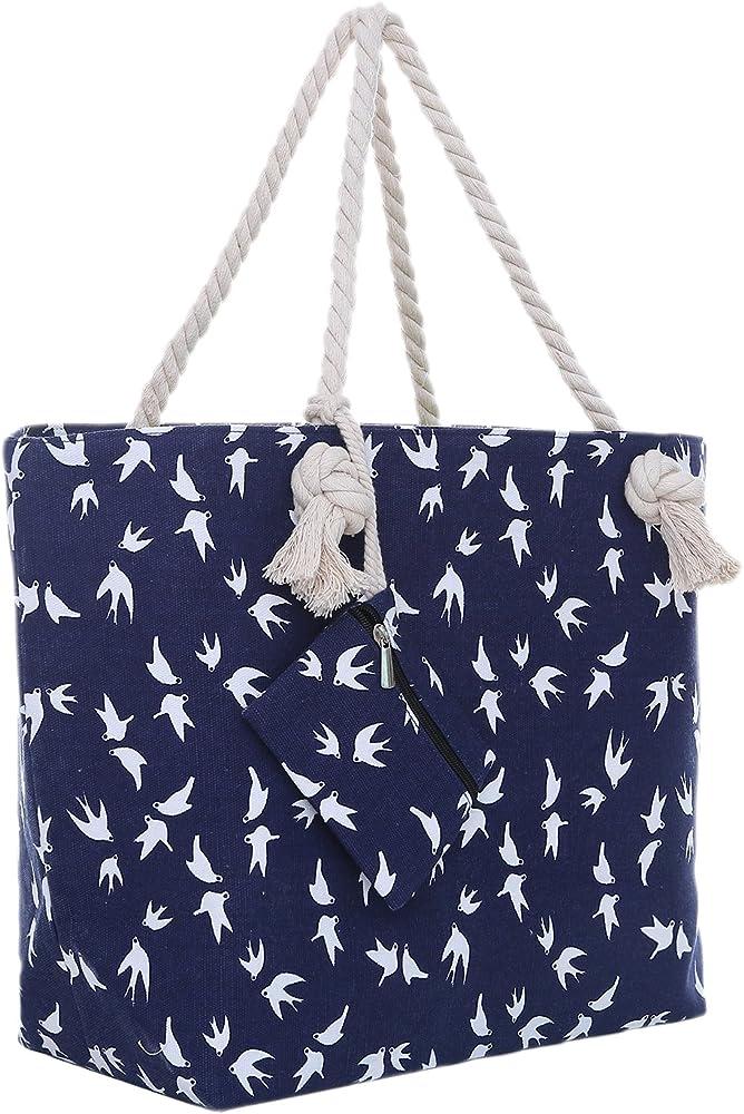 Dondon borsa da spiaggia grande con chiusura zip per donna in materiale idrorepellente BBAG51-us1