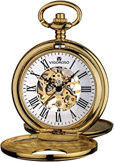 Mens Pocket Watch Half Hunter Double Cover Skeleton Mechanical Watches Gold Roman Numeral Gift Box