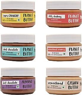 Happy Jars Variety Pack | 6 Mini Jars | 60g Each | Peanut Butter | Almond Butter | Cashew Butter | Vegan | Gluten Free | H...