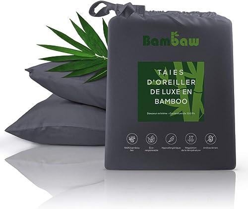 Housse Oreiller Bambou   2 taies d'Oreiller   Taie Oreiller Bio hypoallergénique   Taies Oreiller Luxe   Matière Resp...