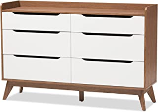 Baxton Studio Chests of Drawers/Bureaus, 6-Drawer Storage Dresser, White/Walnut Brown