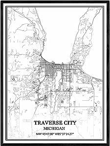 Traverse City Michigan USA America Map Wall Art Canvas Print Poster Artwork Unframed Modern Black and White Map Souvenir Gift Home Decor