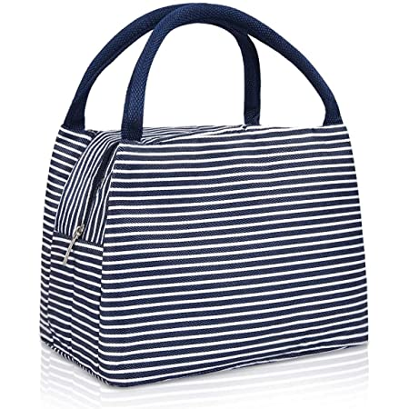 Shuban Thermal Insulated Stripe Lunch Tote Canvas Bag for Office School College Picnic Travel Snacks & Food (Size -L-24 x W-15 x H-18 Cm) (Blue)