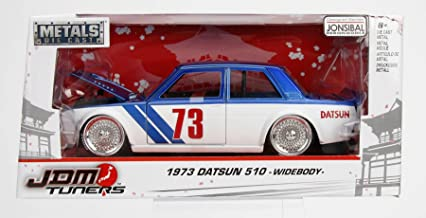 Jada Diecast 1:24 JDM Tuners Jonsibal 1973 Datsun 510 Bluebird Widebody (Blue White)