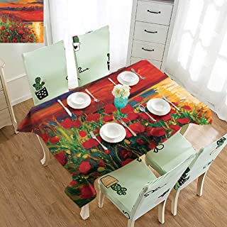 Patio Rectangle Tablecloth Wrinkle Free Tablecloths Flower,Oil Painting View Stone Stairs in The Greek Garden Greenery Forest Picture,Orange Red Green W52 xL70,Rectangle Tablecloth Dinner Picnic