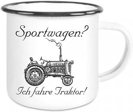 Preisvergleich für crealuxe Emaille Tasse mit Rand Sportwagen? Ich Fahre Traktor - Kaffeetasse mit Motiv, Campingtasse Bedruckte Email-Tasse mit Sprüchen Oder Bildern