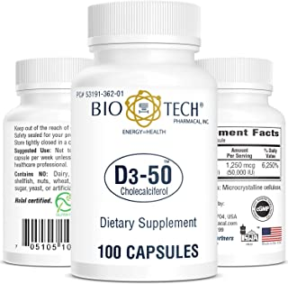 Bio-Tech Pharmacal Vitamin D3 (D3-50 50k IU, 100 Count)