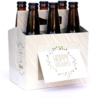 Holiday BEER GIFTS - 6 Pack Beer Holder Greeting Card (Set of 4) in Festive Holiday Lights design - Awesome Christmas Party Hostess Gift, Company Holiday Party Gifts, Holiday Gift Baskets