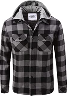 Men's Hooded Flannel Shirt Jacket Quilted Iined