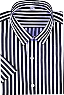 Men's Casual Business Sleeved Vertical Striped Slim Fit Dress Shirts