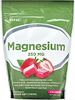 GNC Magnesium Soft Chews, 250mg for Bone and Tooth Health, Strawberry