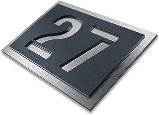 Metzler Huisnummer van roestvrij staal - naar keuze in antraciet-grijs RAL 7016 / zwart/wit/blauw - roestvrij en weerbeste...