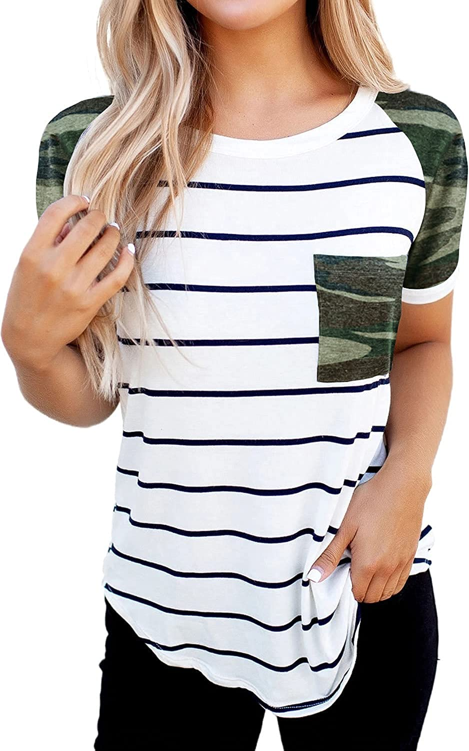 Dokotoo Shirts for Women Round Neck T Shirts Short Sleeve Casual Block Patchwork Tops Blouse with Pocket