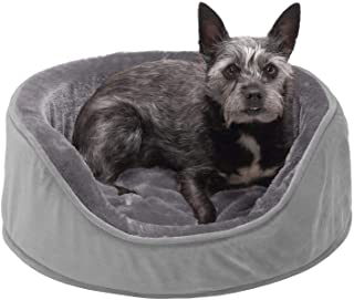 Furhaven Pet Dog Bed - Round Oval Cuddler Plush Faux Fur and Velvet Orthopedic Foam Nest Lounger Pet Bed for Dogs and Cat...