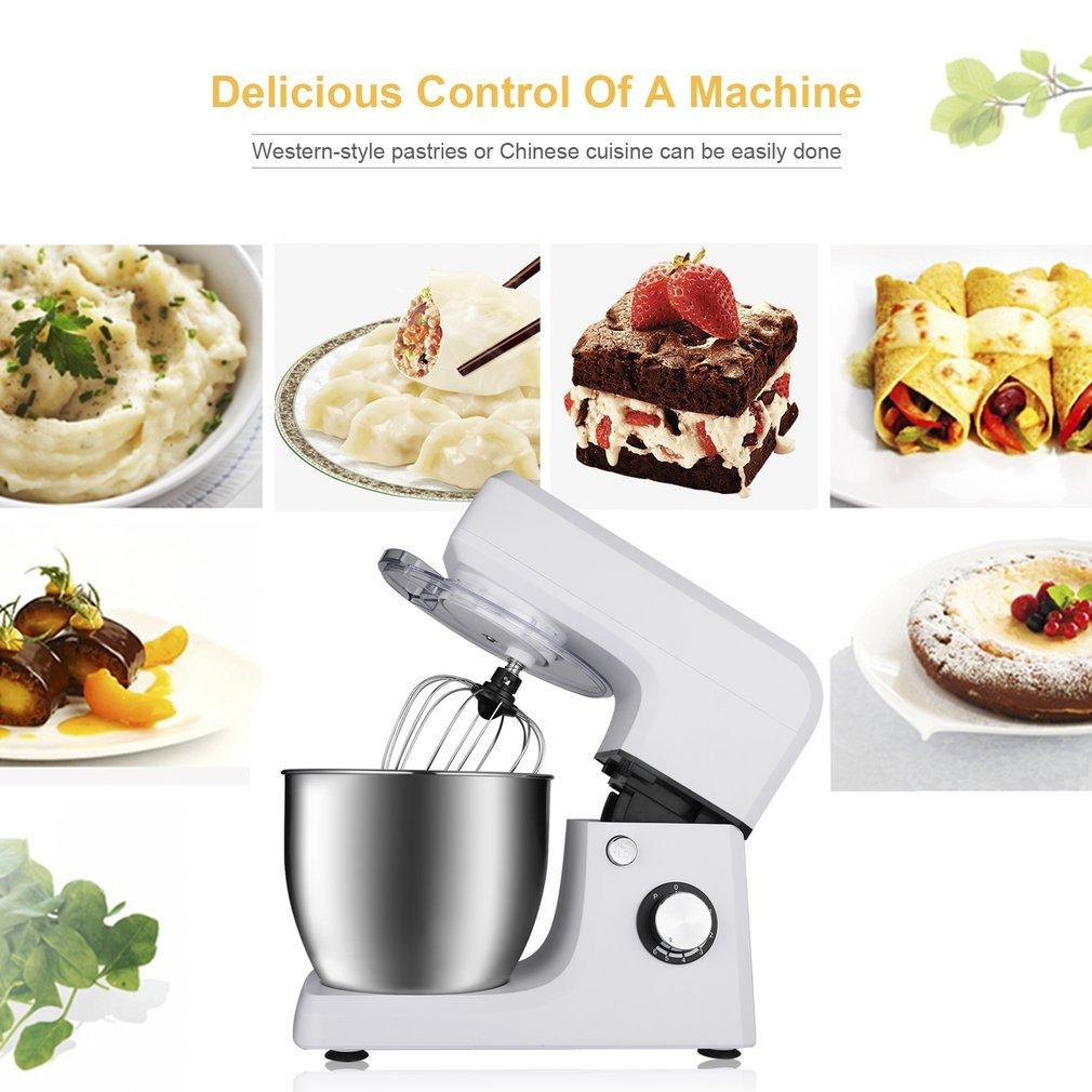 Robot de cocina, leshp, 1200 W, 6,5 L Máquina de cuenco de acero inoxidable, diseño elegante, estilo retro, varillas y espirales, amasadora de masa: Amazon.es: Hogar