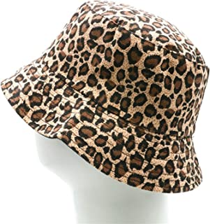 Women Leopard Print Bucket Comfortable Breathe Foldable Men Beach Flat Top Sun Fishing Hat