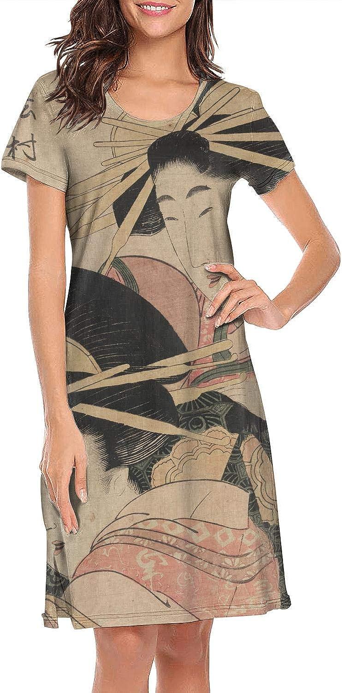 ZWEN Womens Japanese Ukiyo Art Nightgown Popular Nightwear Casual Sleep Shirt