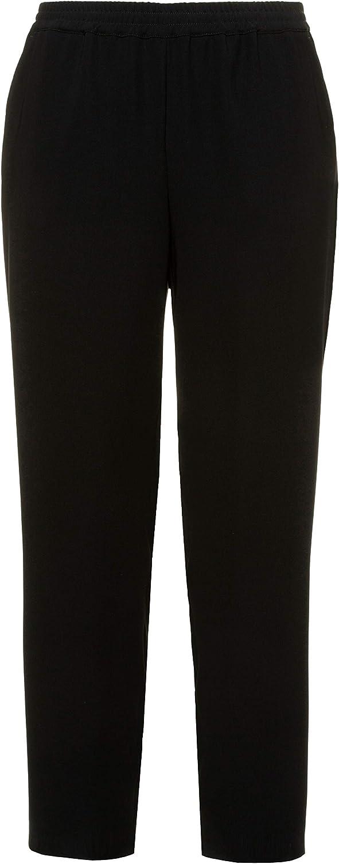 Ulla Popken Women's Plus Size Business Casual Elastic Waist Straight Leg Pants Black 16 749362 10