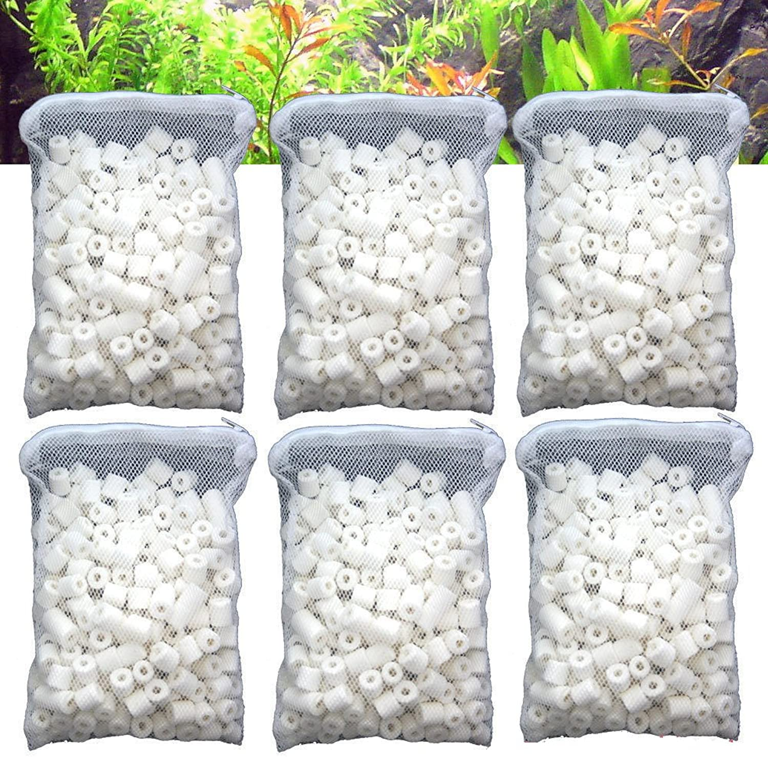 Aquapapa Aquarium Biological Bacteria House Ceramic Rings Filter Media 6 lbs Bagged for Pond Fish Tank Canister Filter