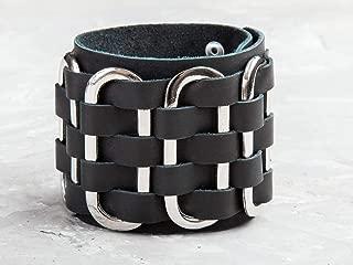 Leather Life 910, Leather Bracelet, Black Wide Cuff, Gothic Jewelry Bangle, Men, Women Wristband, Arm Wrap Unisex Engrave Jewelry, Rock 2028bl