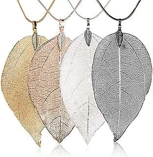 Long Leaves Pendant Necklace Handmade Boho Leaf Sweater Chain