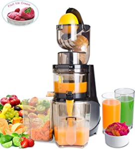 """Masticating Juicer,Whole Slow Juicer Extractor by Vitalisci,Cold Press Juicer Machine,Anti-Oxidation for Fruit and Vegetable,Easy to Clean and BPA Free,(300W AC Motor/3.15"""" Wide Chute/40 RPMs)-Silver"""