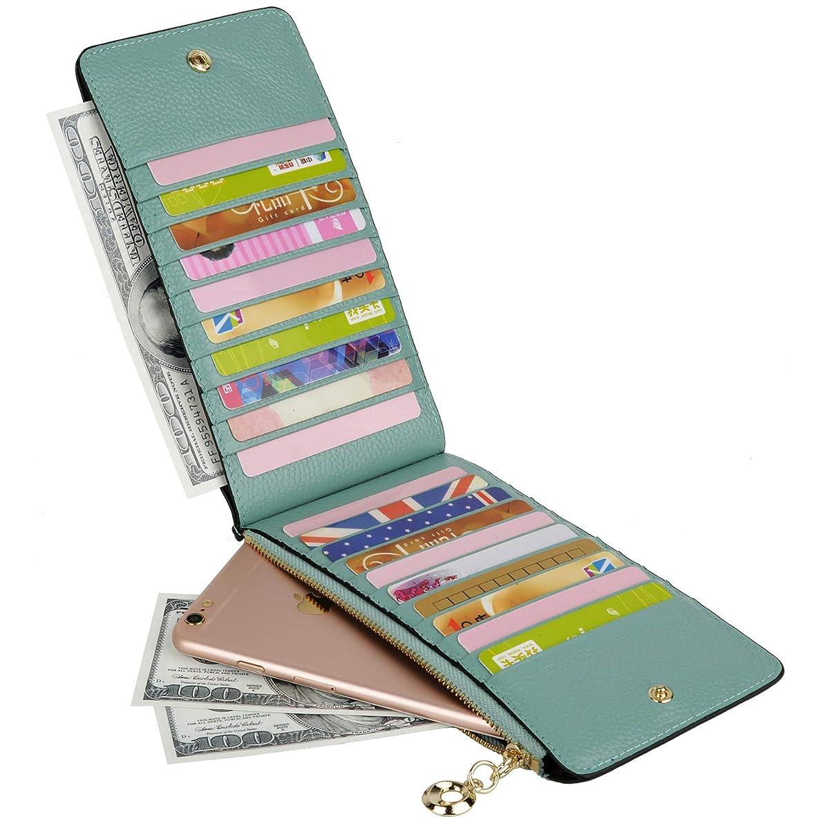 故意に以内にマインド[ヤラックス]Yaluxe レディース RFID ブロッキング 本革 カード多数収納可能 財布 ファスナー ポケット ライトグリーン