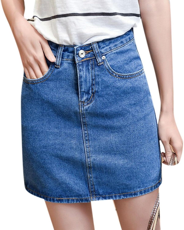Enlishop Women's Summer High Waisted ALine Slim Bodycon Short Mini Denim Jean Skirt