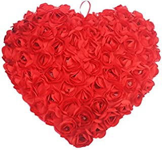 Kanthan Soft Plush Heart Shape Pillow for Valentine's Day, Red Roses, 40 cm