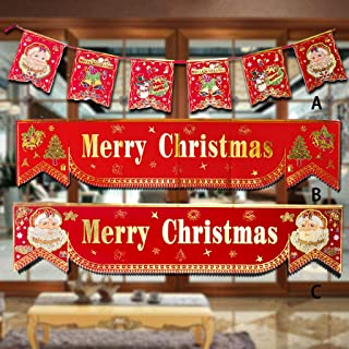 Unine Merry Christmas Banner, Christmas Porch Sign,Xmas Decoration Hanging Fabric Banner,Happy Holiday Door Banners for Home Wall Garden Party Shopping Mall Restaurant Indoor Outdoor Decor