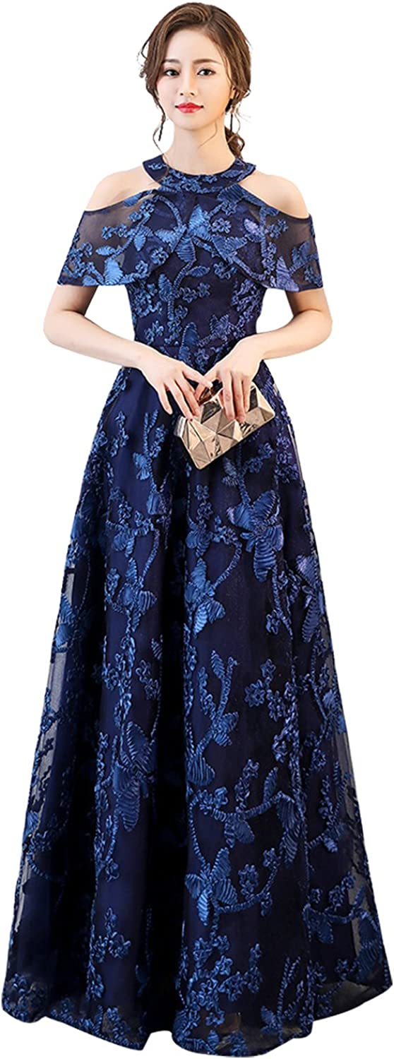 Epinkbridal Women's Halter A Line Evening Prom Dress Embroidery Floor Length Wedding Party Gowns