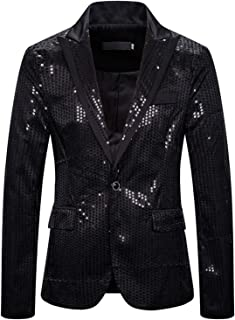 WHATLEES Men Stylish Sparkly Shiny Sequins Blazer Suit Jacket Party