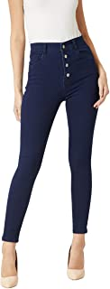 Miss Chase Women's Navy Blue Skinny Fit High Rise Stretchable Denim Jeans