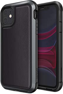 Defense Lux, iPhone 11 Case - Military Grade Drop Tested, Anodized Aluminum, TPU, and Polycarbonate Protective Case for Apple iPhone 11, (Black Leather)