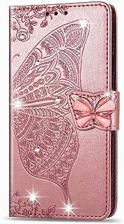 WVYMX ケース for Galaxy A71 5G, Luxury Bling Butterfly Embossing キックスタンドクレジットカードスロット付きPUレザーブックスタイルフリップウォレットカバー for Samsung Ga...