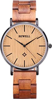 BEWELL Ultra Thin Wooden Watches Fashion Minimalist Wood Watches for Men Analog Quartz Wrist Watches