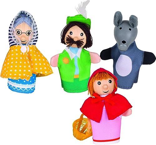 Goki - 51898 - Assortiment de 4 Marionnettes à Doigt - Le Petit Chaperon Rouge